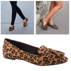 Shoes - New Arrival- Vegan Suede Leopard Loafers, Flats
